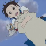 Muta and Haru falling from the sky
