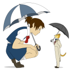 Haru meets the Baron with an umbrella