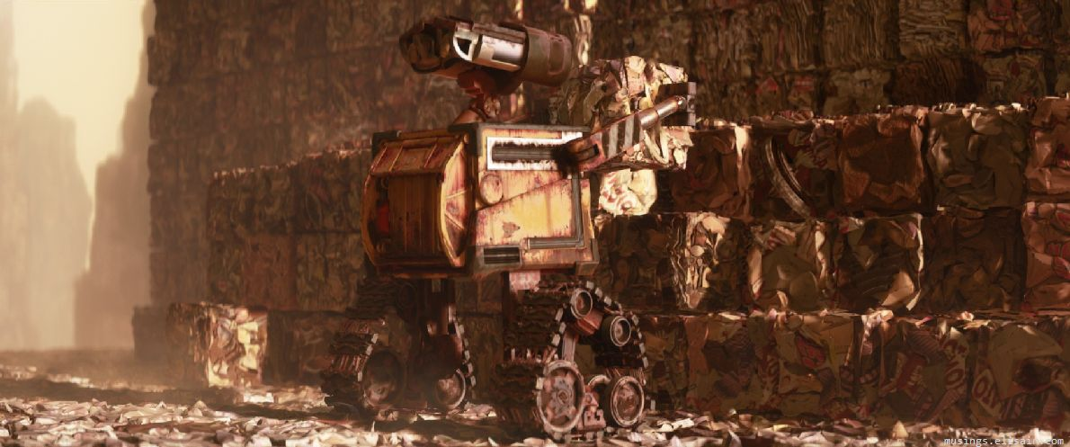 'wall-e cleaning trash'